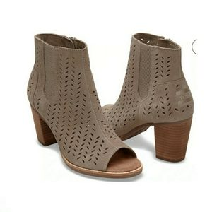 Toms Taupe Suede Peep Toe Booties